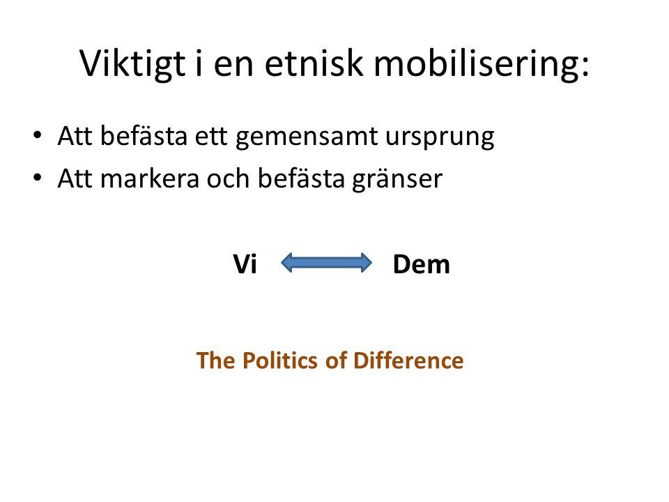 Viktigt i en etnisk mobilisering: Att befästa ett gemensamt ursprung Att markera och befästa gränser Vi Dem The Politics of Difference