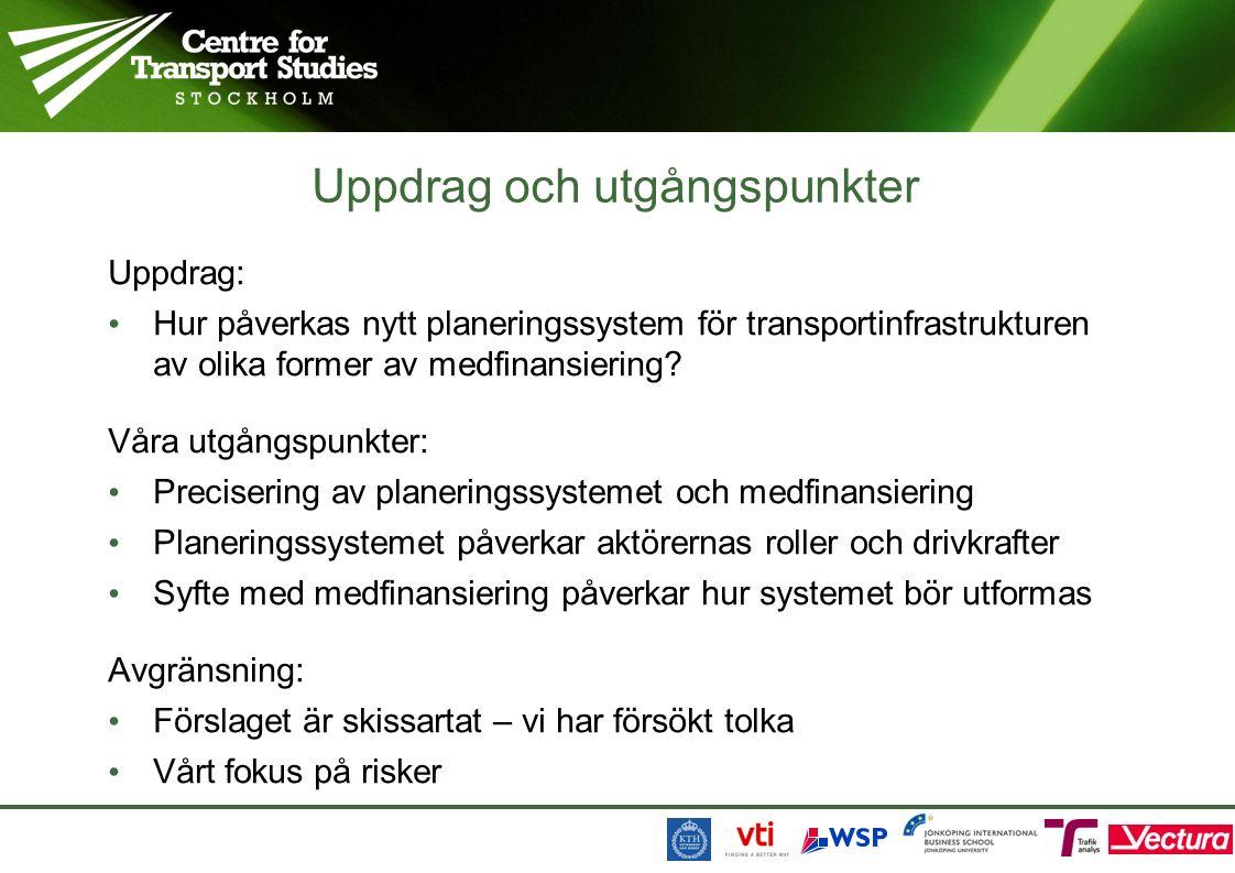 Uppdrag och utgångspunkter Uppdrag: Hur påverkas nytt planeringssystem för transportinfrastrukturen av olika former av medfinansiering.