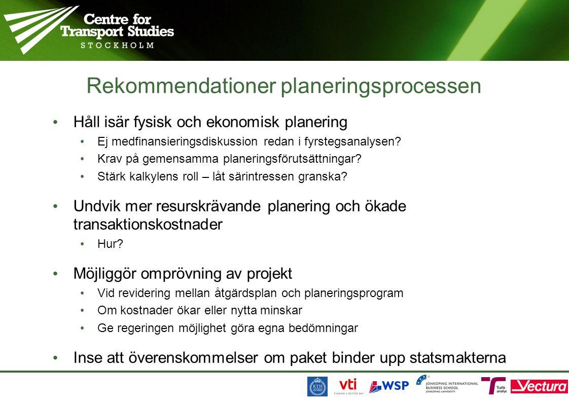 Rekommendationer planeringsprocessen Håll isär fysisk och ekonomisk planering Ej medfinansieringsdiskussion redan i fyrstegsanalysen.