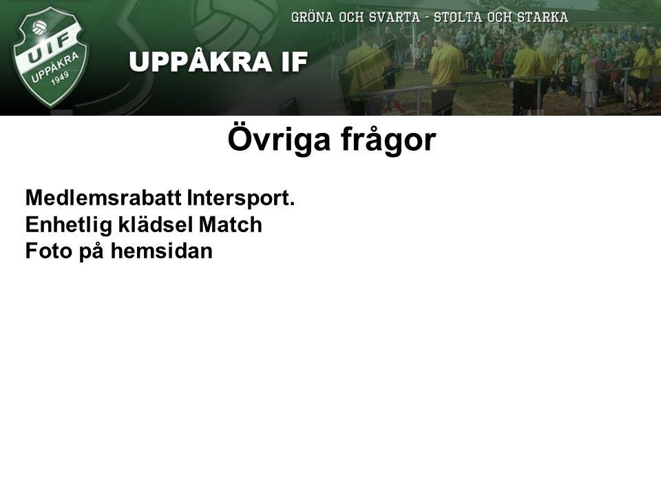 Övriga frågor Medlemsrabatt Intersport. Enhetlig klädsel Match Foto på hemsidan
