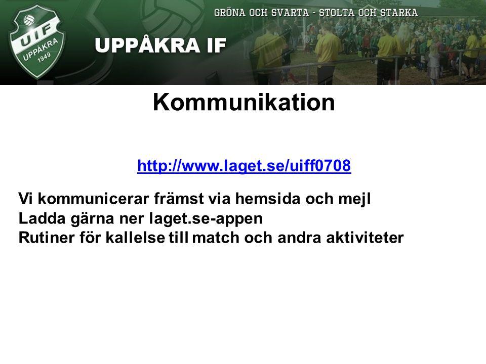 Kommunikation http://www.laget.se/uiff0708 Vi kommunicerar främst via hemsida och mejl Ladda gärna ner laget.se-appen Rutiner för kallelse till match