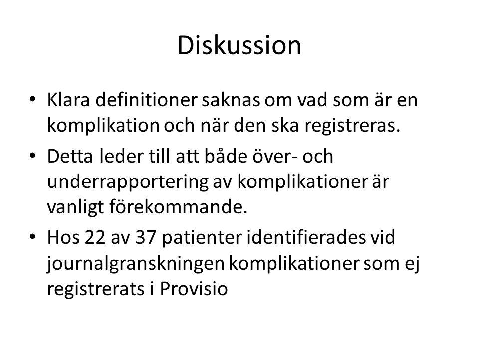 Diskussion Klara definitioner saknas om vad som är en komplikation och när den ska registreras. Detta leder till att både över- och underrapportering
