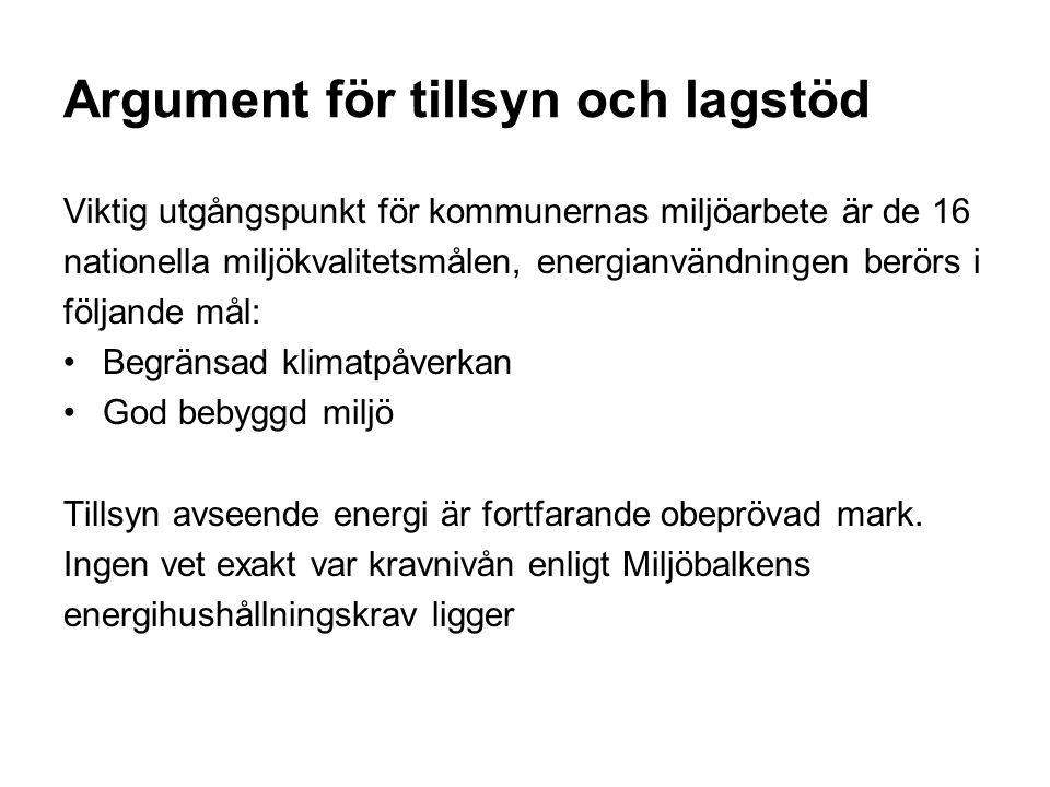Argument för tillsyn och lagstöd Viktig utgångspunkt för kommunernas miljöarbete är de 16 nationella miljökvalitetsmålen, energianvändningen berörs i följande mål: Begränsad klimatpåverkan God bebyggd miljö Tillsyn avseende energi är fortfarande obeprövad mark.