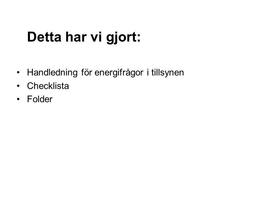 Detta har vi gjort: Handledning för energifrågor i tillsynen Checklista Folder