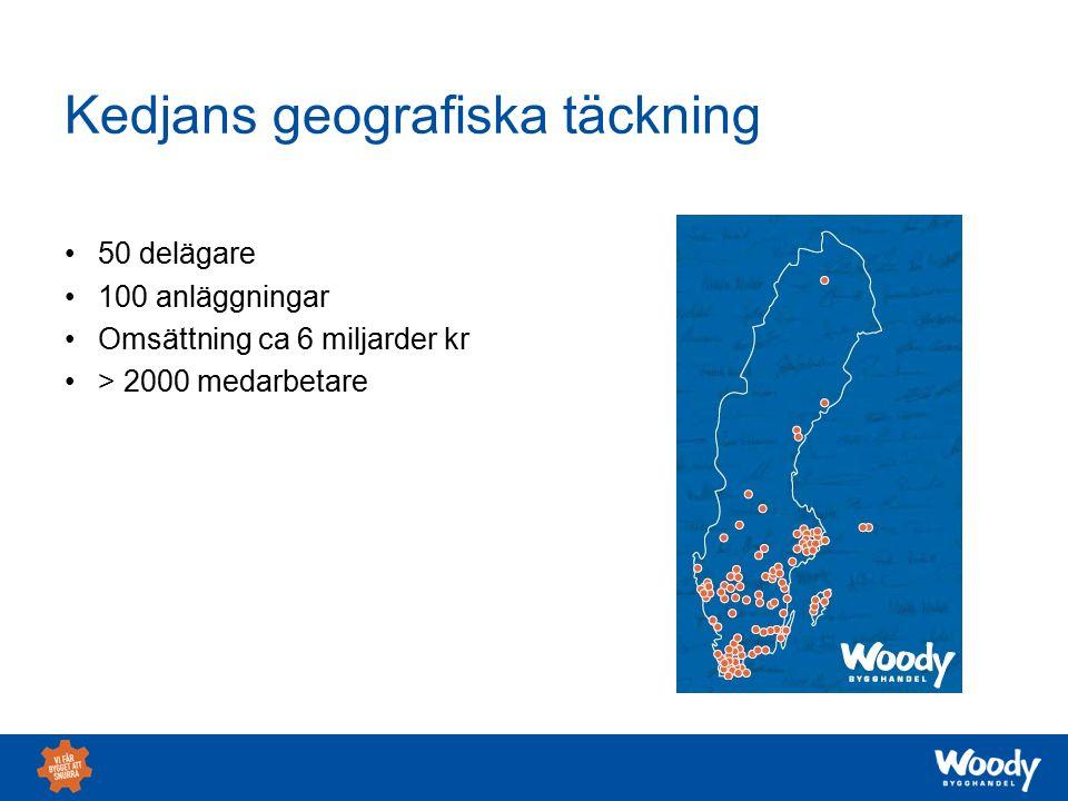 Kedjans geografiska täckning 50 delägare 100 anläggningar Omsättning ca 6 miljarder kr > 2000 medarbetare