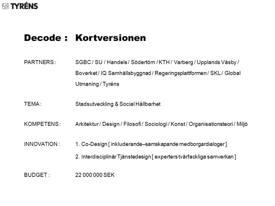 Decode : Kortversionen PARTNERS : SGBC / SU / Handels / Södertörn / KTH / Varberg / Upplands Väsby / Boverket / IQ Samhällsbyggnad / Regeringsplattformen / SKL / Global Utmaning / Tyréns TEMA : Stadsutveckling & Social Hållbarhet KOMPETENS : Arkitektur / Design / Filosofi / Sociologi / Konst / Organisationsteori / Miljö INNOVATION : 1.