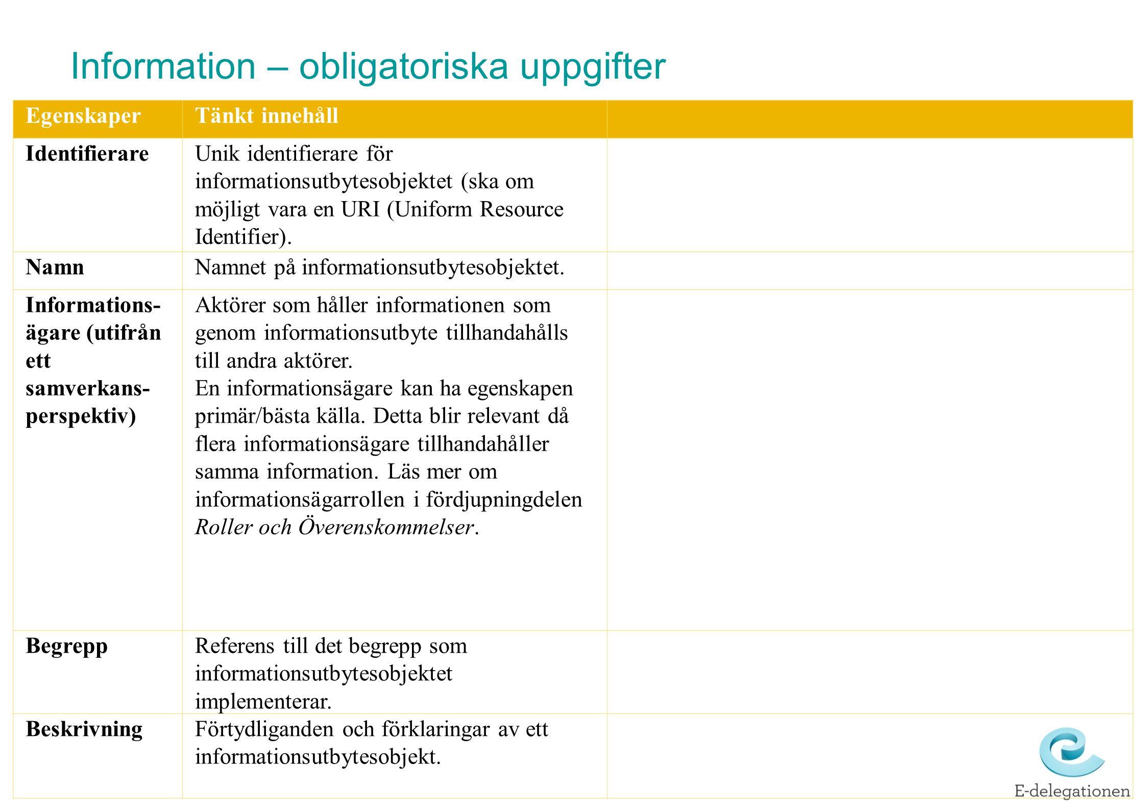 EgenskaperTänkt innehåll IdentifierareUnik identifierare för informationsutbytesobjektet (ska om möjligt vara en URI (Uniform Resource Identifier).