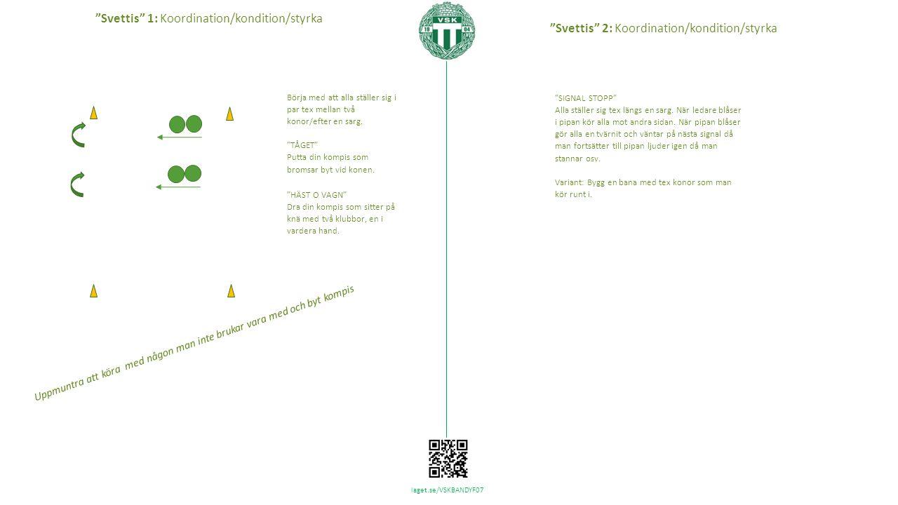 laget.se/VSKBANDYF07 Börja med att alla ställer sig i par tex mellan två konor/efter en sarg.