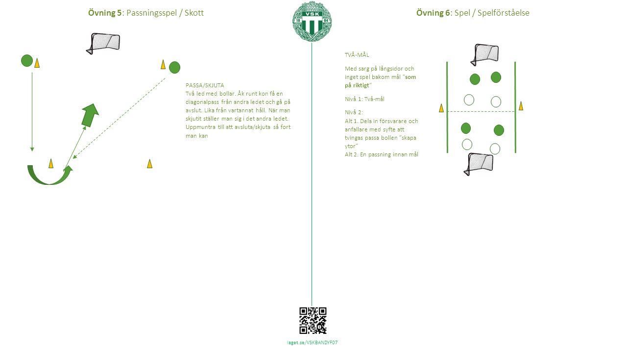 laget.se/VSKBANDYF07 TVÅ-MÅL Med sarg på långsidor och inget spel bakom mål som på riktigt Nivå 1: Två-mål Nivå 2: Alt 1.