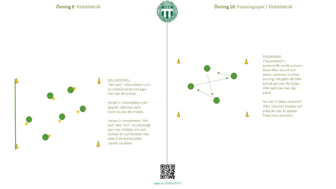 laget.se/VSKBANDYF07 Övning 10: Passningsspel / KlubbteknikÖvning 9: Klubbteknik BOLLKONTROLL Min boll - Alla dribblar runt i en cirkel/kvadrat med egen boll utan att krocka.