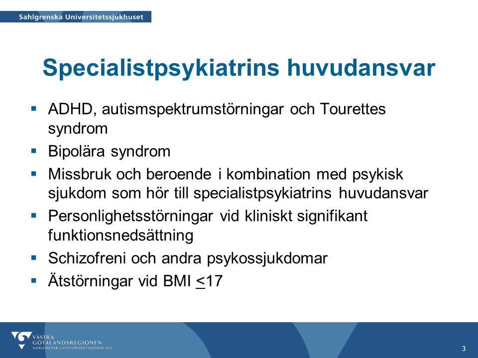 3 Specialistpsykiatrins huvudansvar  ADHD, autismspektrumstörningar och Tourettes syndrom  Bipolära syndrom  Missbruk och beroende i kombination med psykisk sjukdom som hör till specialistpsykiatrins huvudansvar  Personlighetsstörningar vid kliniskt signifikant funktionsnedsättning  Schizofreni och andra psykossjukdomar  Ätstörningar vid BMI <17