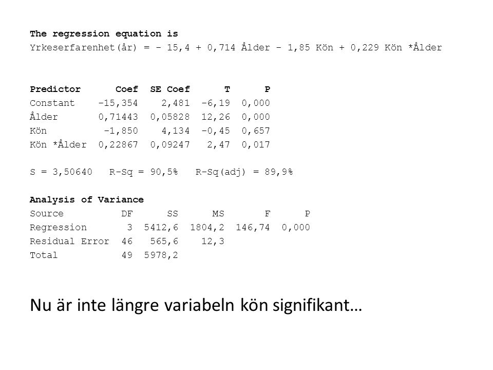The regression equation is Yrkeserfarenhet(år) = - 15,4 + 0,714 Ålder - 1,85 Kön + 0,229 Kön *Ålder Predictor Coef SE Coef T P Constant -15,354 2,481