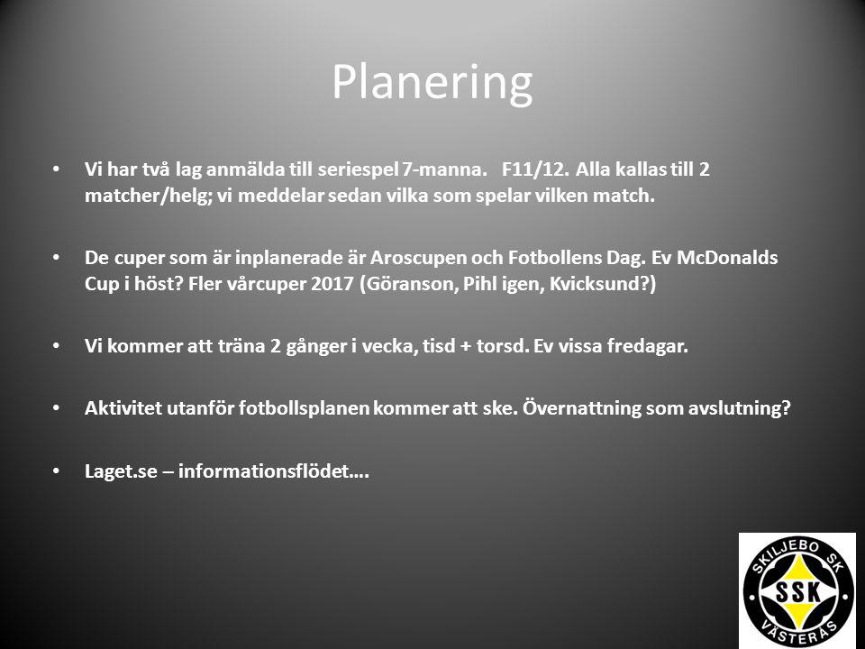 Planering Vi har två lag anmälda till seriespel 7-manna.