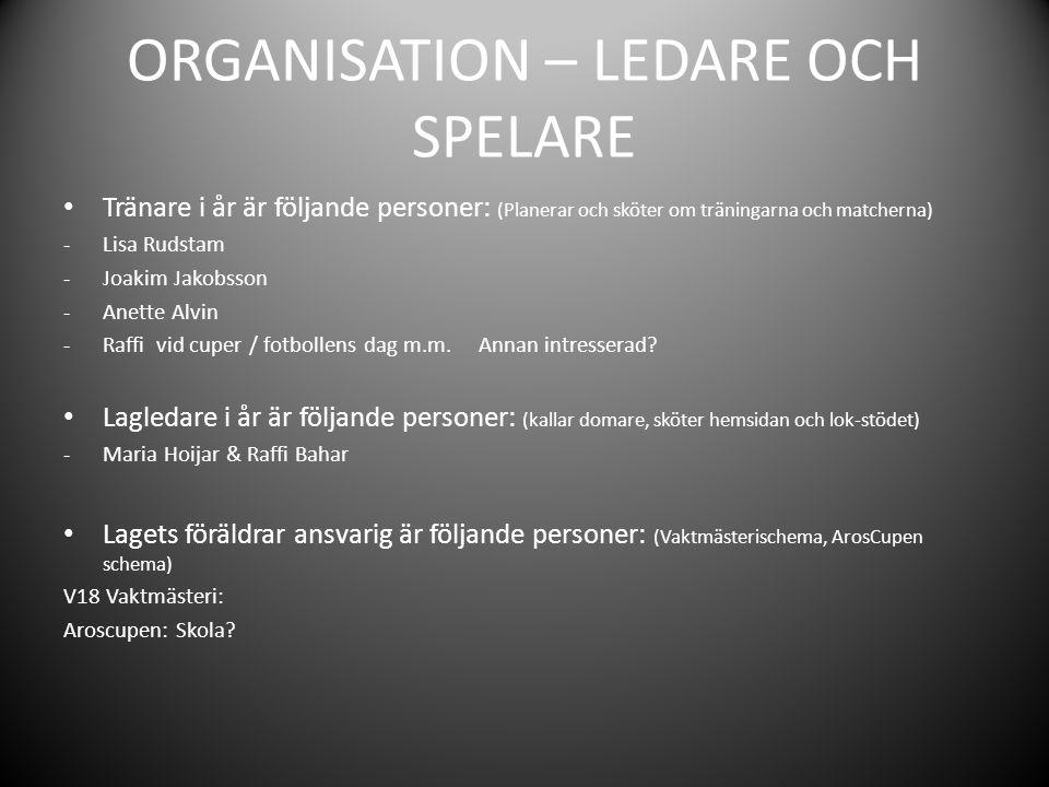 ORGANISATION – LEDARE OCH SPELARE Tränare i år är följande personer: (Planerar och sköter om träningarna och matcherna) -Lisa Rudstam -Joakim Jakobsson -Anette Alvin -Raffi vid cuper / fotbollens dag m.m.