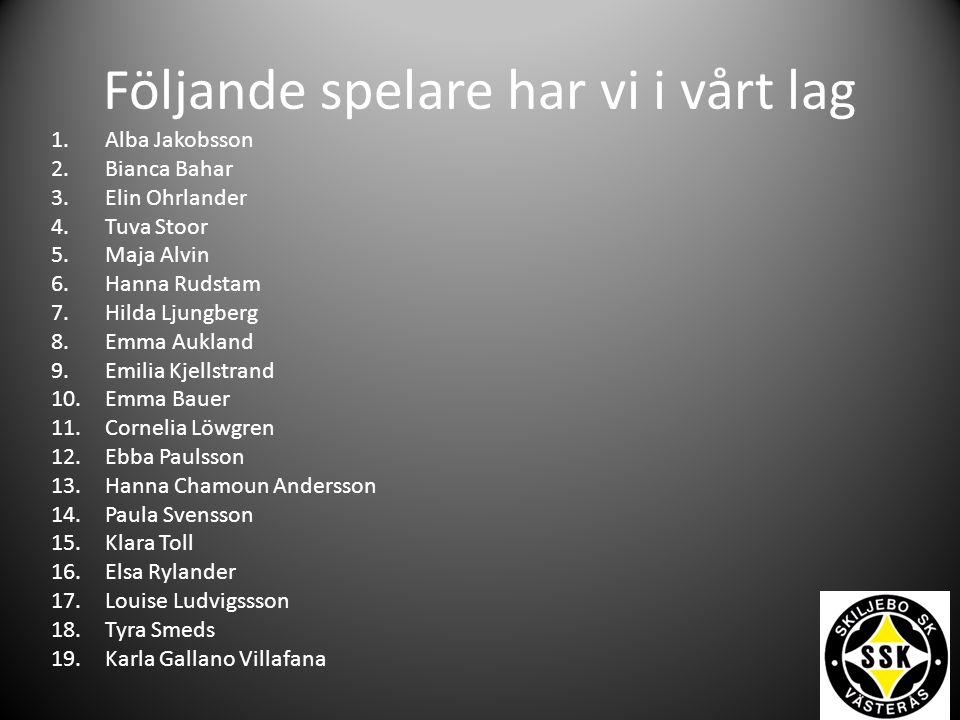 Följande spelare har vi i vårt lag 1.Alba Jakobsson 2.Bianca Bahar 3.Elin Ohrlander 4.Tuva Stoor 5.Maja Alvin 6.Hanna Rudstam 7.Hilda Ljungberg 8.Emma