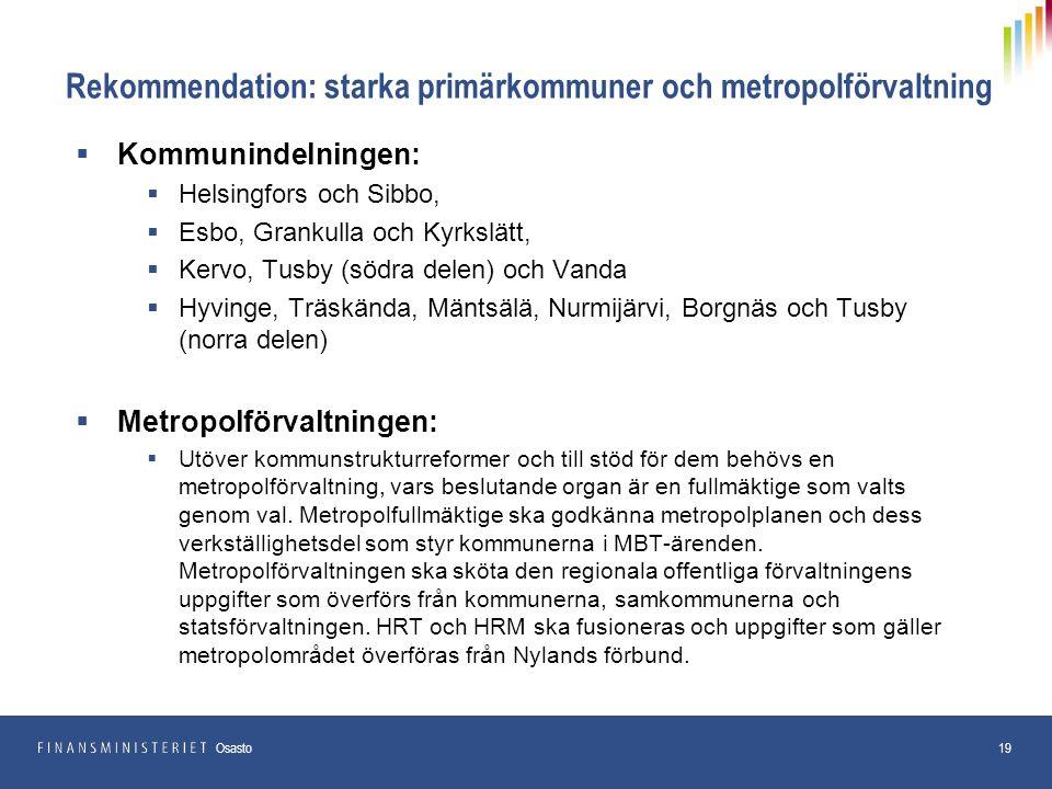 Rekommendation: starka primärkommuner och metropolförvaltning  Kommunindelningen:  Helsingfors och Sibbo,  Esbo, Grankulla och Kyrkslätt,  Kervo, Tusby (södra delen) och Vanda  Hyvinge, Träskända, Mäntsälä, Nurmijärvi, Borgnäs och Tusby (norra delen)  Metropolförvaltningen:  Utöver kommunstrukturreformer och till stöd för dem behövs en metropolförvaltning, vars beslutande organ är en fullmäktige som valts genom val.
