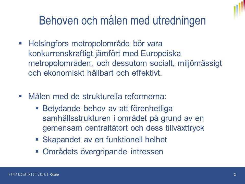 Behoven och målen med utredningen  Helsingfors metropolområde bör vara konkurrenskraftigt jämfört med Europeiska metropolområden, och dessutom socialt, miljömässigt och ekonomiskt hållbart och effektivt.