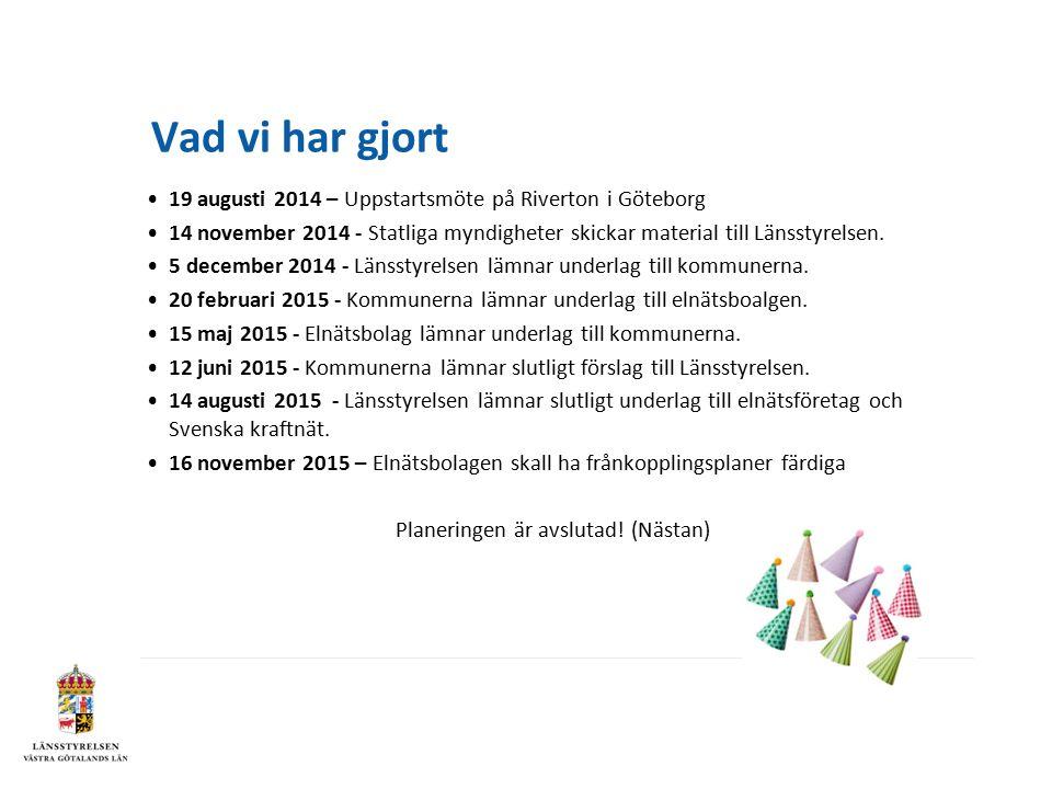 Vad vi har gjort 19 augusti 2014 – Uppstartsmöte på Riverton i Göteborg 14 november 2014 - Statliga myndigheter skickar material till Länsstyrelsen.