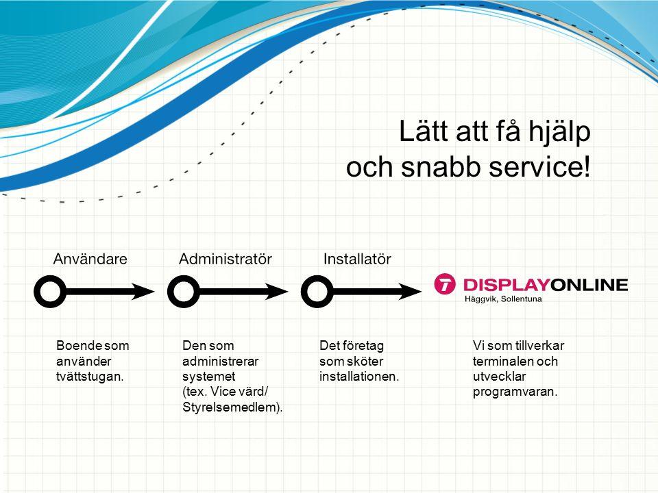 Lätt att få hjälp och snabb service! Boende som använder tvättstugan. Den som administrerar systemet (tex. Vice värd/ Styrelsemedlem). Det företag som