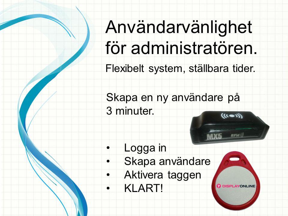 Användarvänlighet för administratören. Logga in Skapa användare Aktivera taggen KLART! Skapa en ny användare på 3 minuter. Flexibelt system, ställbara