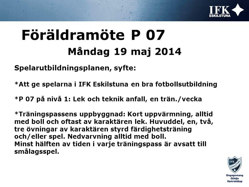 Måndag 19 maj 2014 Föräldramöte P 07 Spelarutbildningsplanen, nivå 1 – 6-7 år *Tränarstil för nivån: Positiv feedback och uppmuntran.