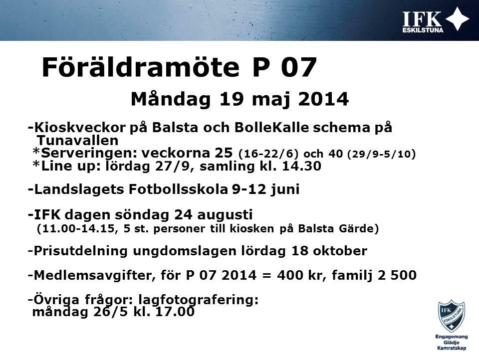 Måndag 19 maj 2014 Föräldramöte P 07 -Kioskveckor på Balsta och BolleKalle schema på Tunavallen *Serveringen: veckorna 25 (16-22/6) och 40 (29/9-5/10 ) *Line up: lördag 27/9, samling kl.