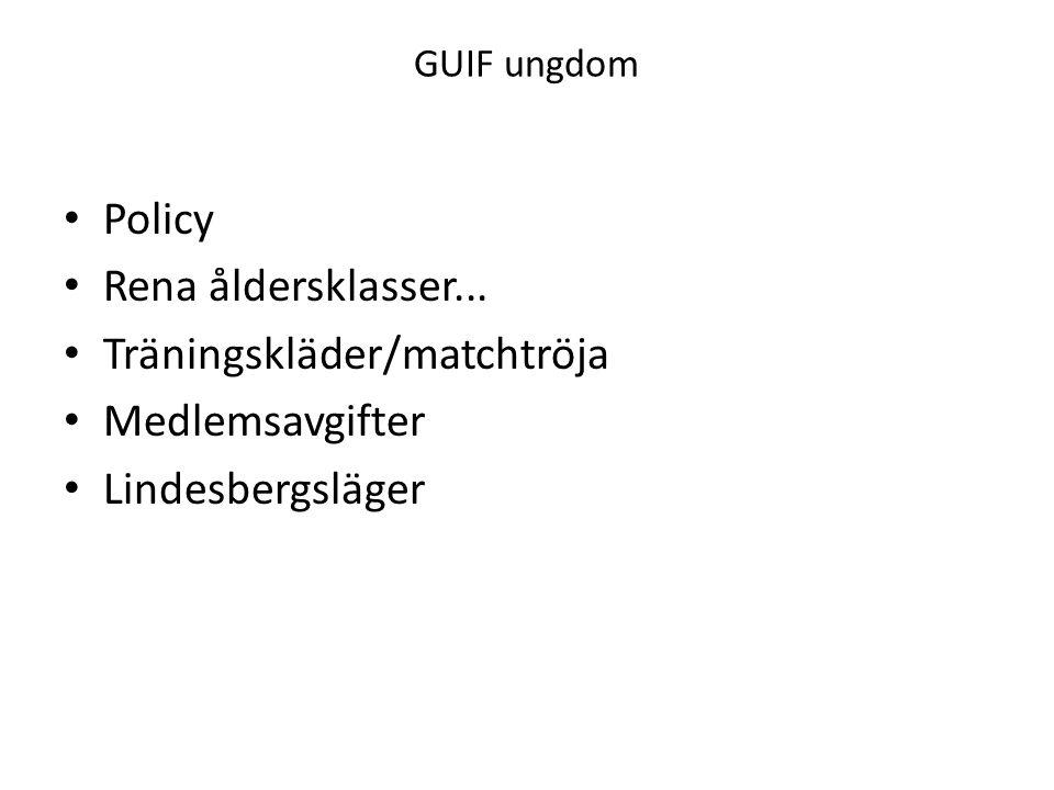 GUIF ungdom Policy Rena åldersklasser... Träningskläder/matchtröja Medlemsavgifter Lindesbergsläger