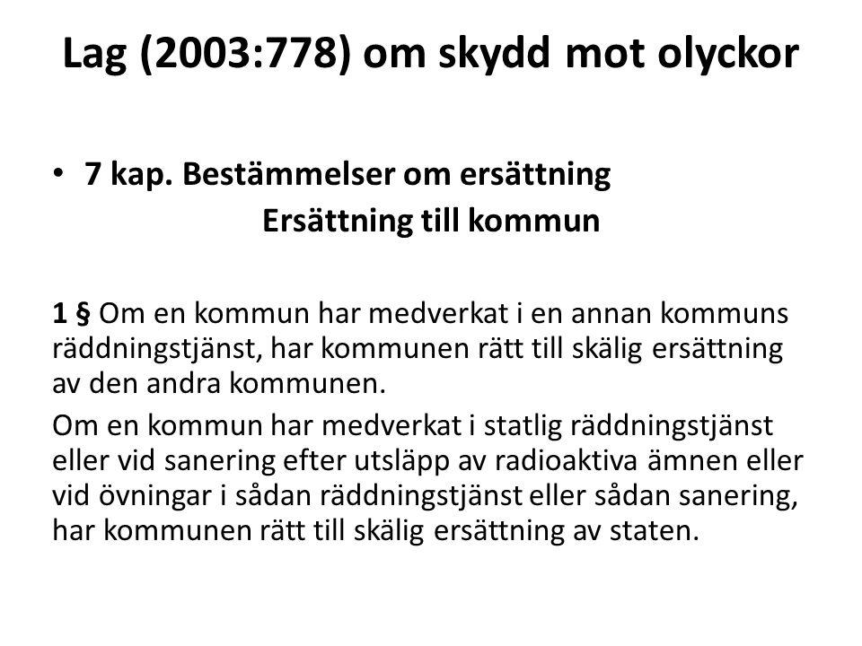 Lag (2003:778) om skydd mot olyckor 7 kap. Bestämmelser om ersättning Ersättning till kommun 1 § Om en kommun har medverkat i en annan kommuns räddnin