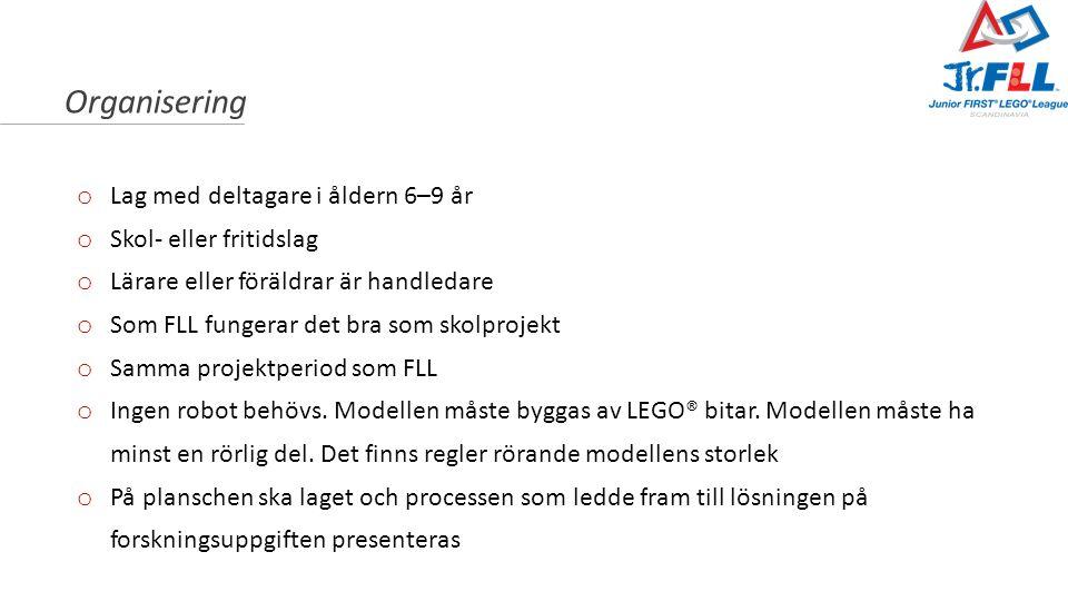 LEGO® modellen o Alla typer av LEGO får användas och man behöver ingen särskild LEGO sats o Modellen måste ha anknytning till temat o Modellen får mäta högst 38 x 38 cm, och det är ett krav att den har minst en rörlig del, som drivs av en motor o Om man ska köpa LEGO rekommenderas något av följande toalternativ: o Jr.FLL teknik pakke o Jr.FLL programmeringssett o Finns att köpa på www.fspartner.no, och hos andra återförsäljare av LEGO Education-produkter.www.fspartner.no