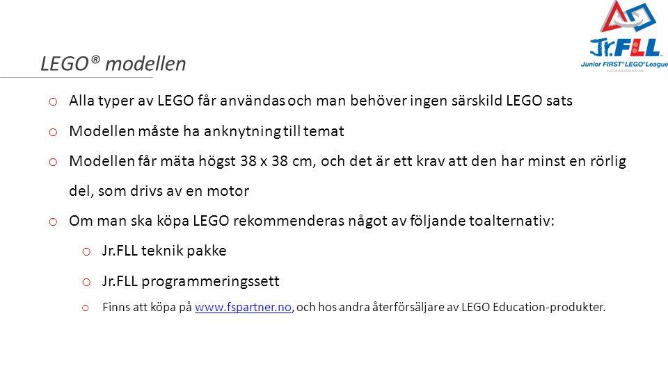 LEGO® modellen o Alla typer av LEGO får användas och man behöver ingen särskild LEGO sats o Modellen måste ha anknytning till temat o Modellen får mät