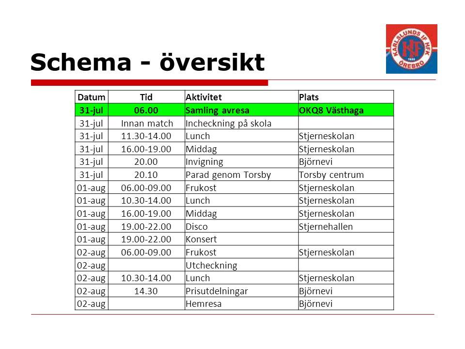 Schema - översikt DatumTidAktivitetPlats 31-jul06.00Samling avresaOKQ8 Västhaga 31-jul Innan matchIncheckning på skola 31-jul11.30-14.00LunchStjerneskolan 31-jul16.00-19.00MiddagStjerneskolan 31-jul20.00InvigningBjörnevi 31-jul20.10Parad genom TorsbyTorsby centrum 01-aug06.00-09.00FrukostStjerneskolan 01-aug10.30-14.00LunchStjerneskolan 01-aug16.00-19.00MiddagStjerneskolan 01-aug19.00-22.00DiscoStjernehallen 01-aug19.00-22.00Konsert 02-aug06.00-09.00FrukostStjerneskolan 02-aug Utcheckning 02-aug10.30-14.00LunchStjerneskolan 02-aug14.30PrisutdelningarBjörnevi 02-aug HemresaBjörnevi