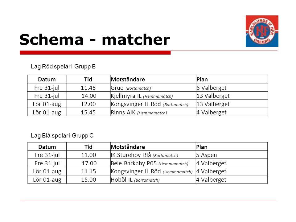 Schema - matcher DatumTidMotståndarePlan Fre 31-jul11.45Grue (Bortamatch) 6 Valberget Fre 31-jul 14.00Kjellmyra IL (Hemmamatch) 13 Valberget Lör 01-aug12.00Kongsvinger IL Röd (Bortamatch) 13 Valberget Lör 01-aug15.45Rinns AIK (Hemmamatch) 4 Valberget DatumTidMotståndarePlan Fre 31-jul11.00IK Sturehov Blå (Bortamatch) 5 Aspen Fre 31-jul 17.00Bele Barkaby P05 (Hemmamatch) 4 Valberget Lör 01-aug11.15Kongsvinger IL Röd (Hemmamatch) 4 Valberget Lör 01-aug15.00Hoböl IL (Bortamatch) 4 Valberget Lag Röd spelar i Grupp B Lag Blå spelar i Grupp C