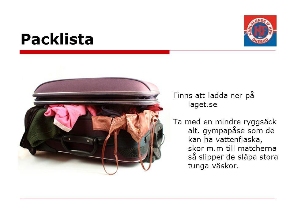 Packlista Finns att ladda ner på laget.se Ta med en mindre ryggsäck alt. gympapåse som de kan ha vattenflaska, skor m.m till matcherna så slipper de s