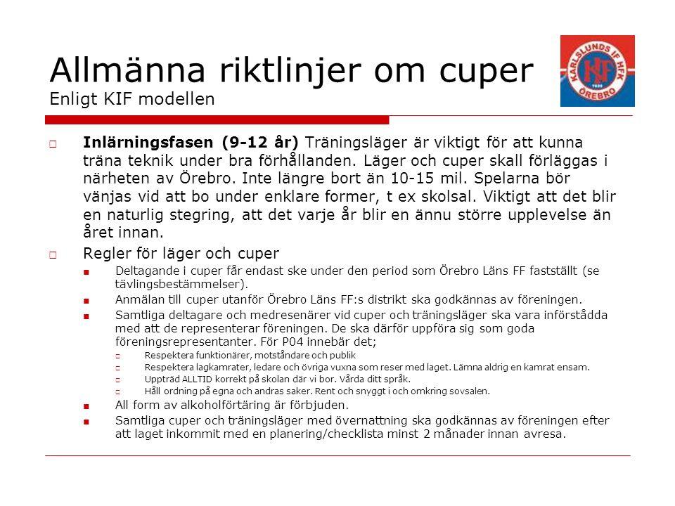 Allmänna riktlinjer om cuper Enligt KIF modellen □Inlärningsfasen (9-12 år) Träningsläger är viktigt för att kunna träna teknik under bra förhållanden