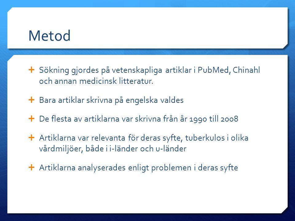 Metod  Sökning gjordes på vetenskapliga artiklar i PubMed, Chinahl och annan medicinsk litteratur.  Bara artiklar skrivna på engelska valdes  De fl