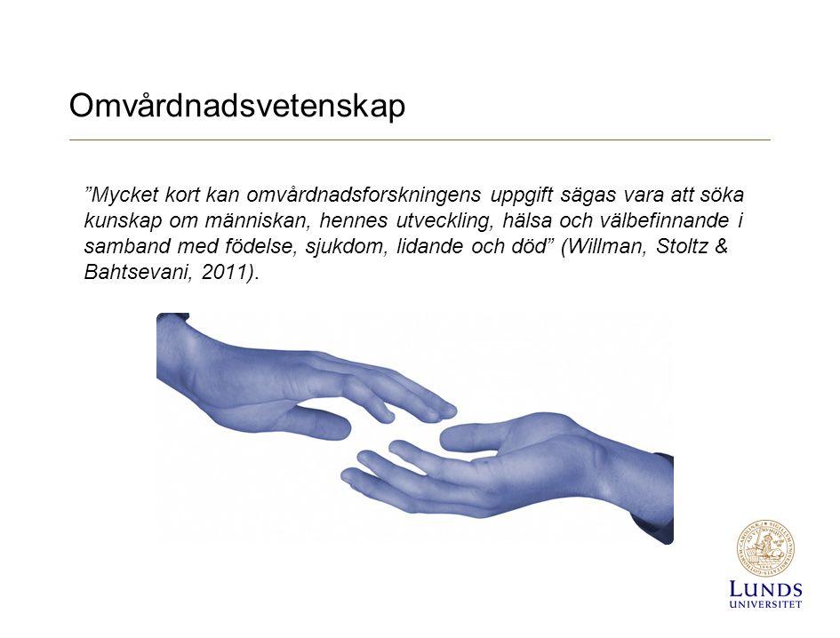 Omvårdnadsvetenskap Mycket kort kan omvårdnadsforskningens uppgift sägas vara att söka kunskap om människan, hennes utveckling, hälsa och välbefinnande i samband med födelse, sjukdom, lidande och död (Willman, Stoltz & Bahtsevani, 2011).