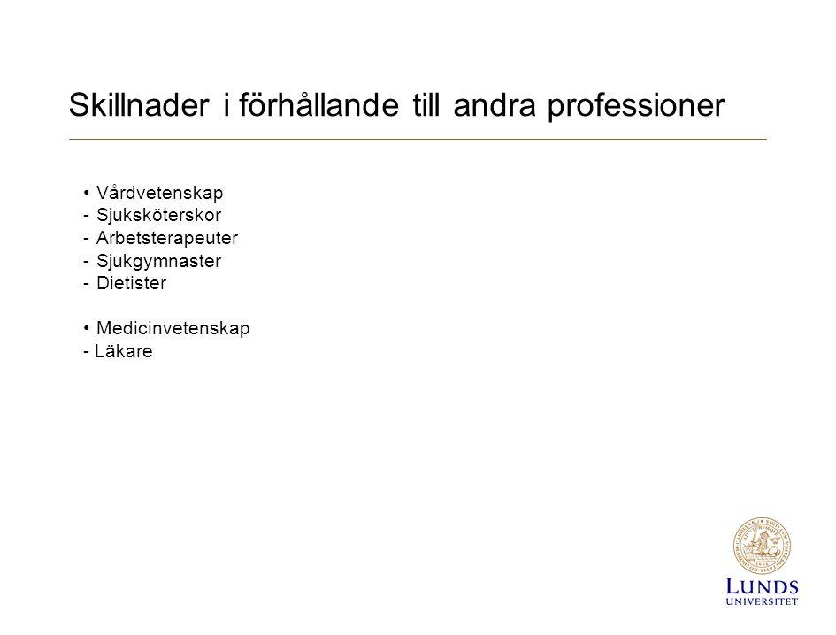 Skillnader i förhållande till andra professioner Vårdvetenskap - Sjuksköterskor - Arbetsterapeuter - Sjukgymnaster - Dietister Medicinvetenskap - Läkare