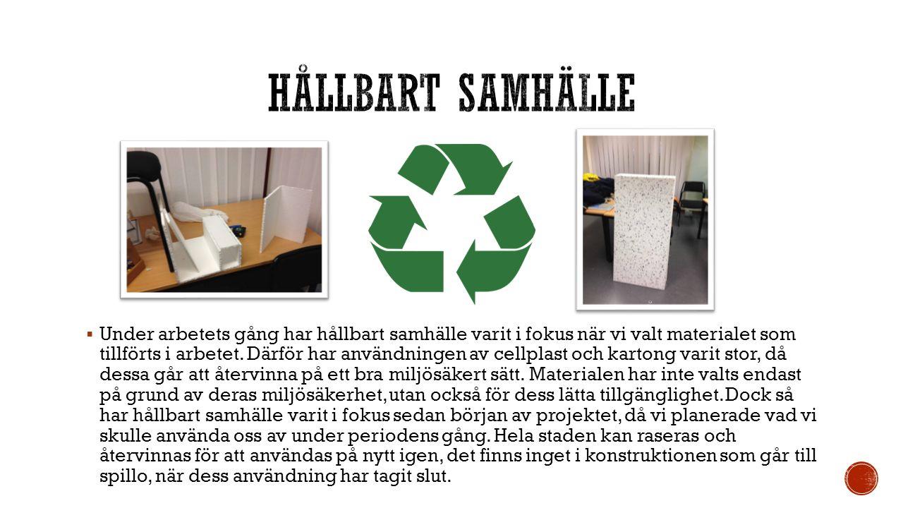  Under arbetets gång har hållbart samhälle varit i fokus när vi valt materialet som tillförts i arbetet. Därför har användningen av cellplast och kar