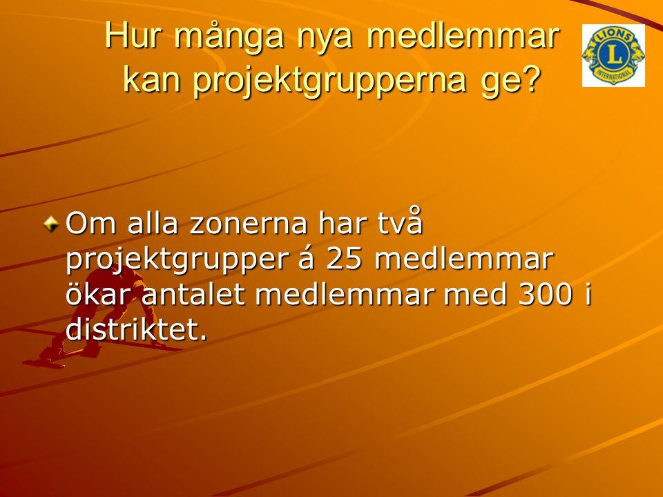 Hur många nya medlemmar kan projektgrupperna ge? Om alla zonerna har två projektgrupper á 25 medlemmar ökar antalet medlemmar med 300 i distriktet.