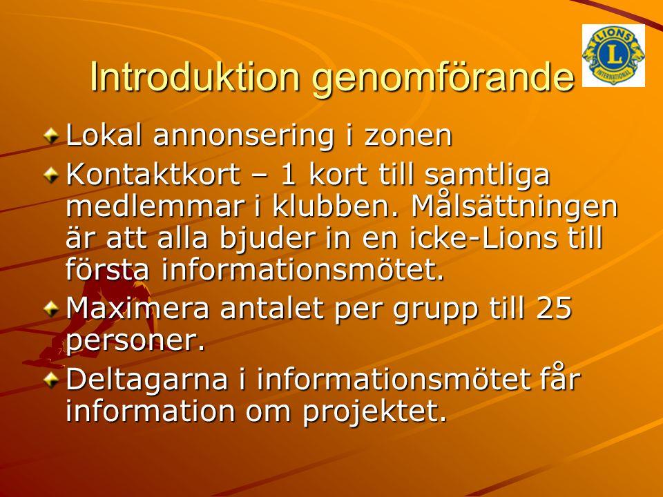 Introduktion genomförande Lokal annonsering i zonen Kontaktkort – 1 kort till samtliga medlemmar i klubben. Målsättningen är att alla bjuder in en ick