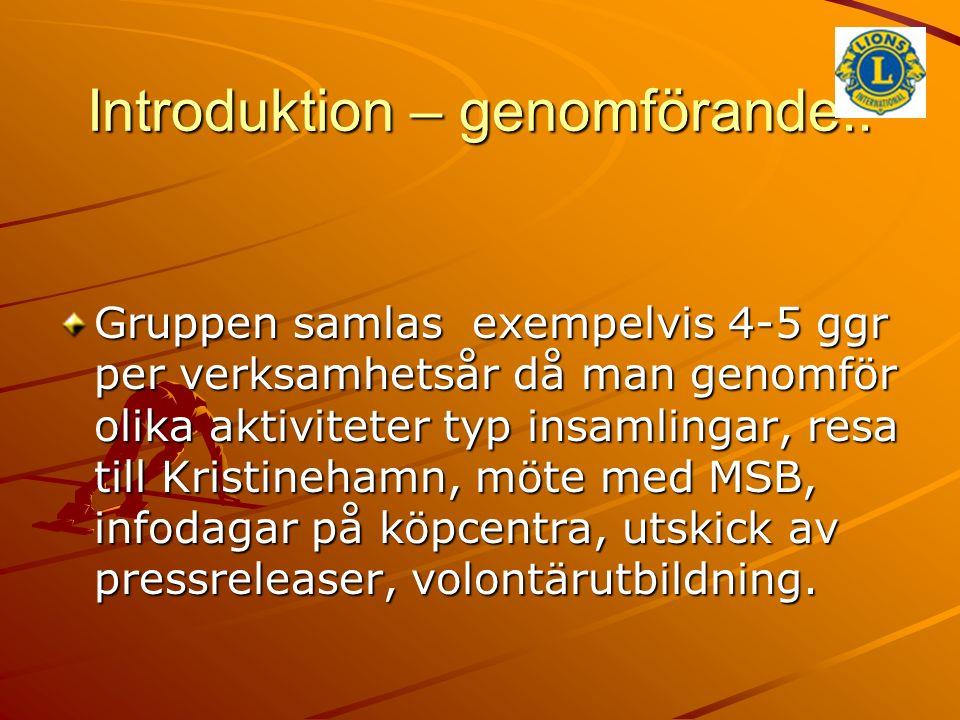 Introduktion – genomförande.. Gruppen samlas exempelvis 4-5 ggr per verksamhetsår då man genomför olika aktiviteter typ insamlingar, resa till Kristin