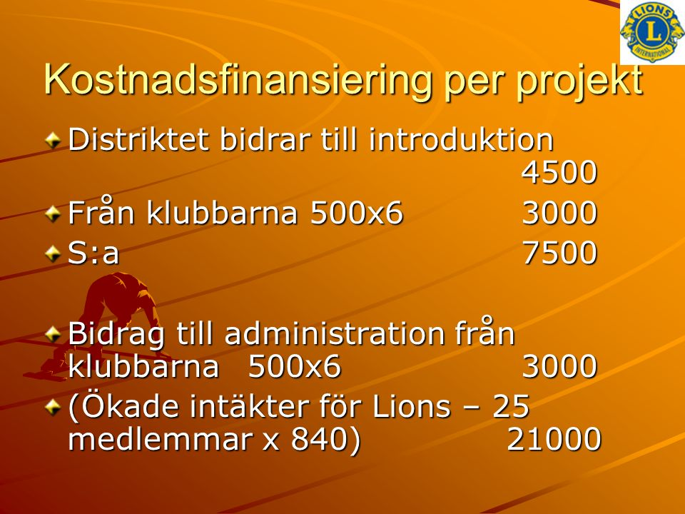Kostnadsfinansiering per projekt Distriktet bidrar till introduktion 4500 Från klubbarna 500x63000 S:a7500 Bidrag till administration från klubbarna50