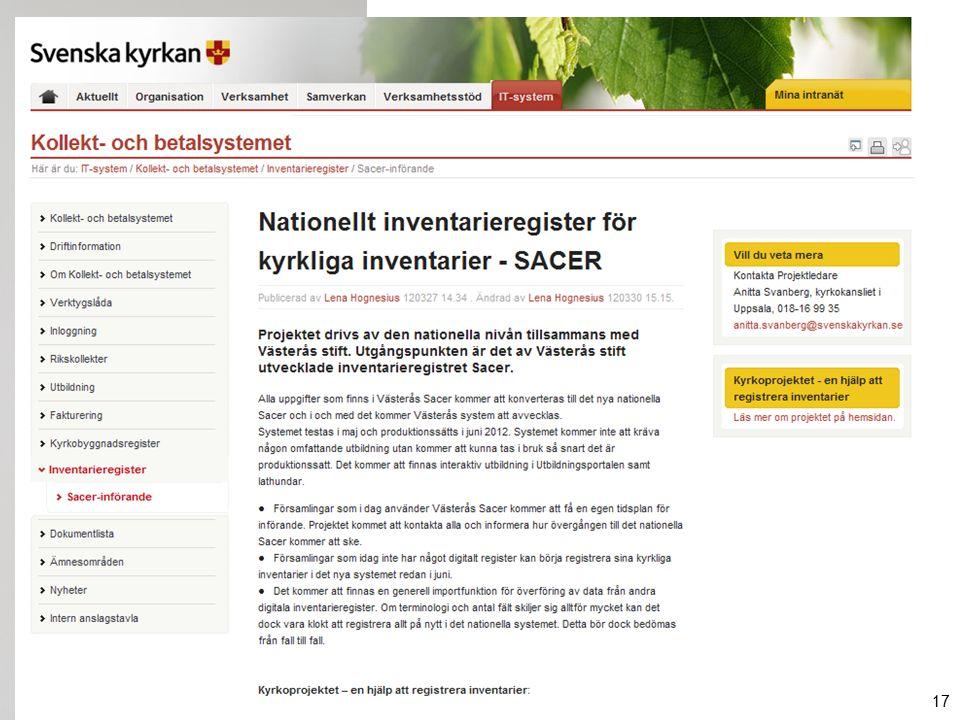 http://internwww.svenskakyrkan.se 17