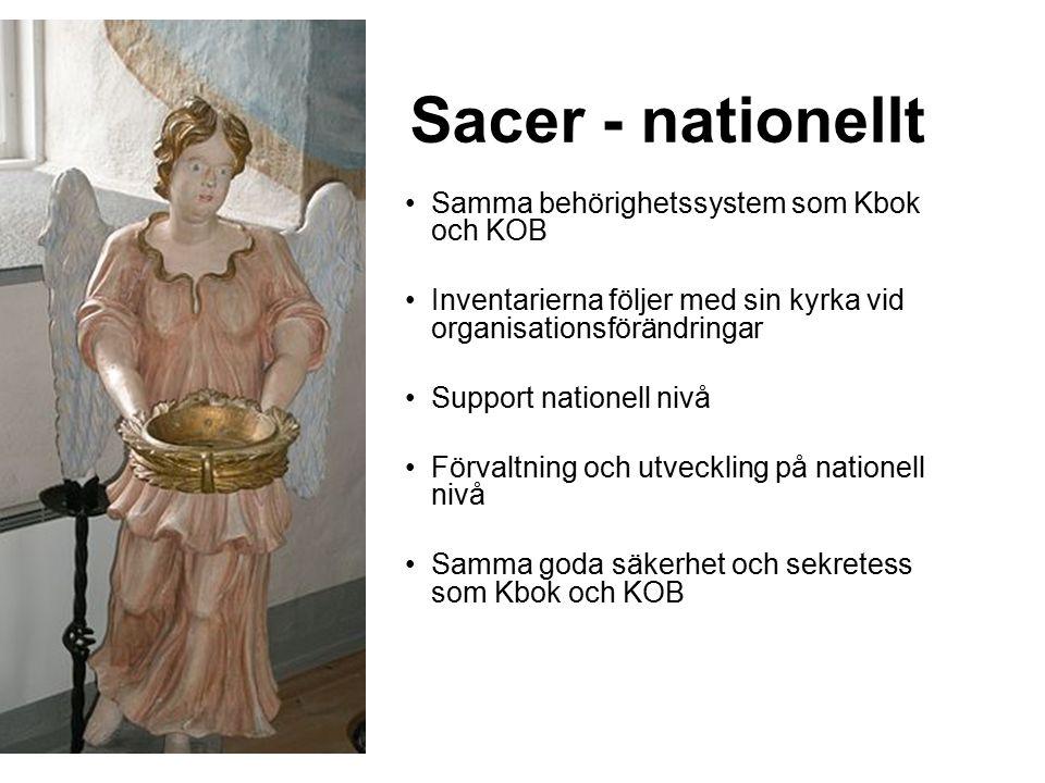 Sacer - nationellt Samma behörighetssystem som Kbok och KOB Inventarierna följer med sin kyrka vid organisationsförändringar Support nationell nivå Förvaltning och utveckling på nationell nivå Samma goda säkerhet och sekretess som Kbok och KOB