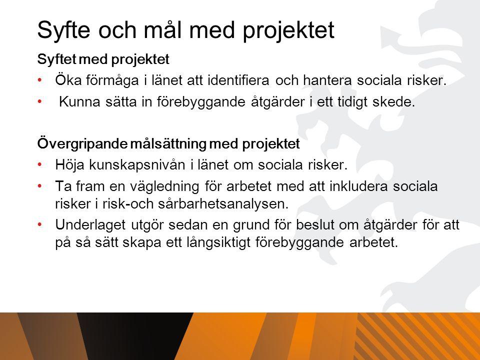 Syfte och mål med projektet Syftet med projektet Öka förmåga i länet att identifiera och hantera sociala risker.
