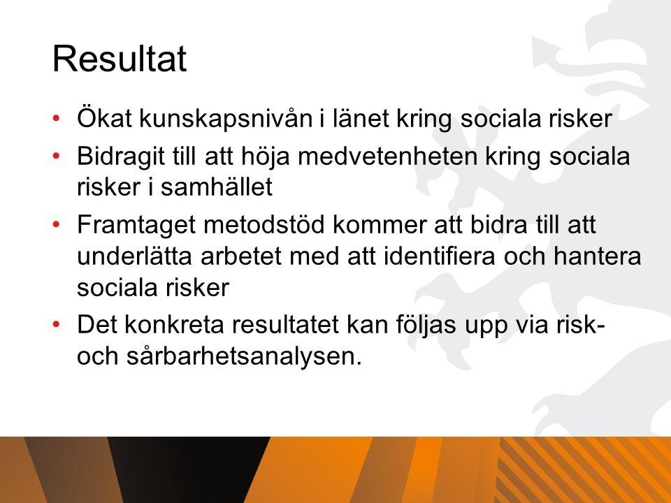 Resultat Ökat kunskapsnivån i länet kring sociala risker Bidragit till att höja medvetenheten kring sociala risker i samhället Framtaget metodstöd kommer att bidra till att underlätta arbetet med att identifiera och hantera sociala risker Det konkreta resultatet kan följas upp via risk- och sårbarhetsanalysen.