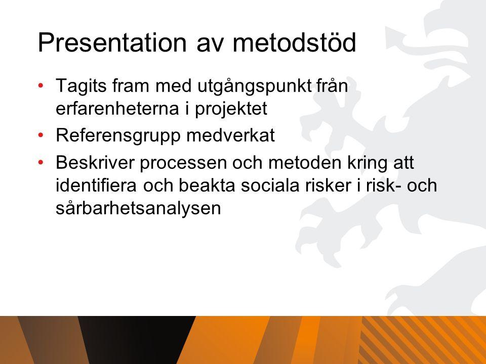Presentation av metodstöd Tagits fram med utgångspunkt från erfarenheterna i projektet Referensgrupp medverkat Beskriver processen och metoden kring att identifiera och beakta sociala risker i risk- och sårbarhetsanalysen
