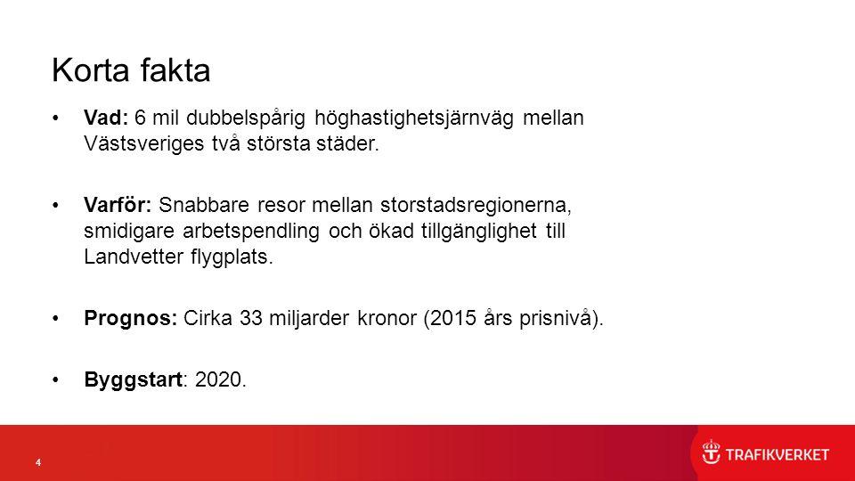 4 Korta fakta Vad: 6 mil dubbelspårig höghastighetsjärnväg mellan Västsveriges två största städer.