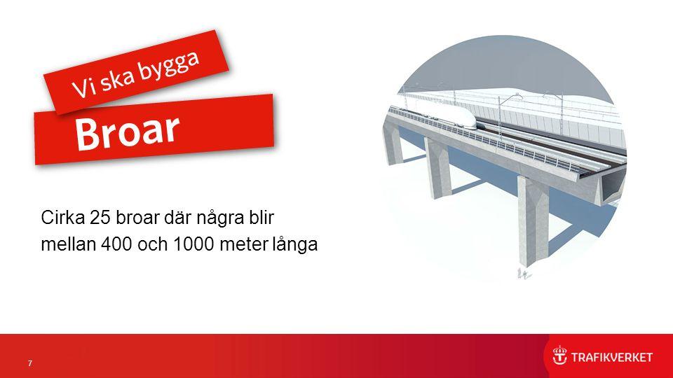 7 Cirka 25 broar där några blir mellan 400 och 1000 meter långa