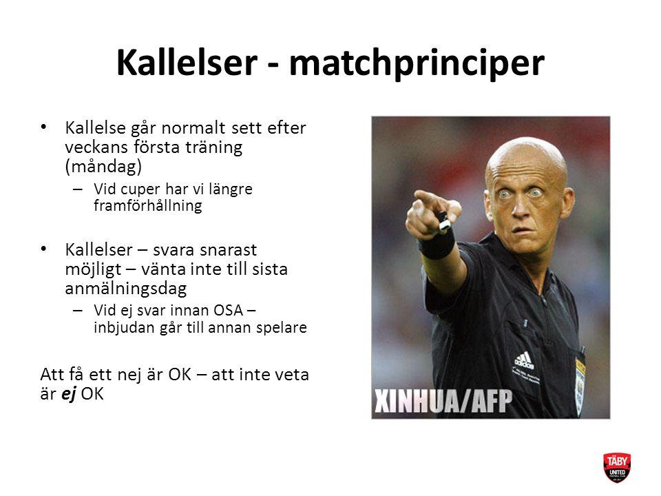 Kallelser - matchprinciper Kallelse går normalt sett efter veckans första träning (måndag) – Vid cuper har vi längre framförhållning Kallelser – svara